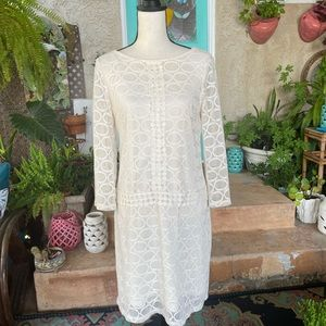 Maggy London Off White/Cream Lace Shift Dress 10